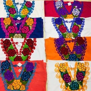 Mexican Chiapas Embroidered Tops XL